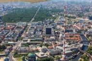 Sendemast des Berliner Fernsehturms und das dahinter liegende Gebiet Berlin Tiergarten.