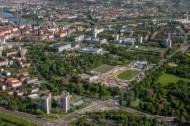 Bau des Dynamo Stadions in Dresden im Bundesland Sachsen