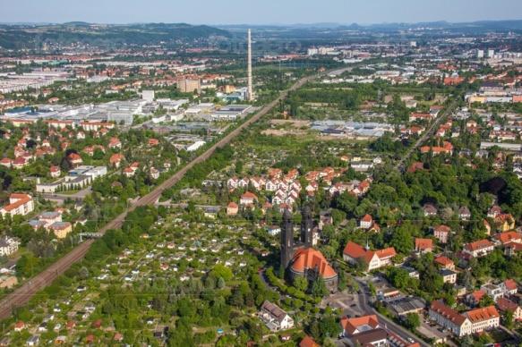 Blick auf den Dresdner Stadtteil Strehlen im Bundesland Sachsen