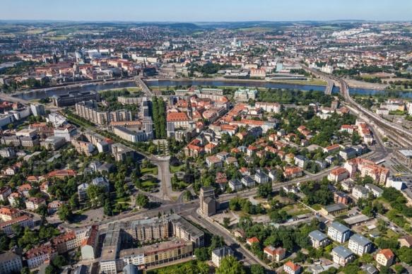 Innenstadt von Dresden im Bundesland Sachsen