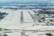 Flughafen Dresden im Winter im Bundesland Sachsen