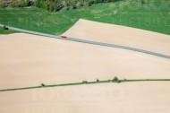 Eine Stra�e führt durch Wiesen und Felder