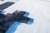 Schneedecke auf dem Feld am Waldeck im Winter