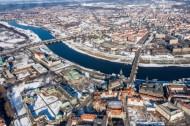 Verschneites Dresden im Bundesland Sachsen