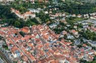 Die historische Altstadt von Pirna im Bundesland Sachsen, mit Blick auf den Sonnenstein.