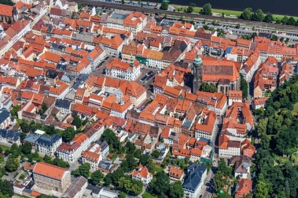 Die Altstadt in Pirna bei Sachsen, mit Blick auf den Markt.