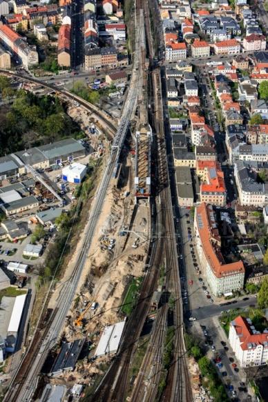 Gleisbauarbeiten am Bahnhof Neustadt in Dresden im Bundesland Sachsen
