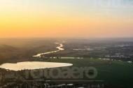 Stausee Niederwartha und die Elbe im Bundesland Sachsen
