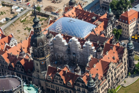 Bauarbeiten am Residenzschloss in Dresden im Bundesland Sachsen