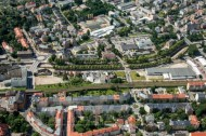 Der Stadtteil Plauen in Dresden bei Sachsen mit Blick auf die Bienertmühle.