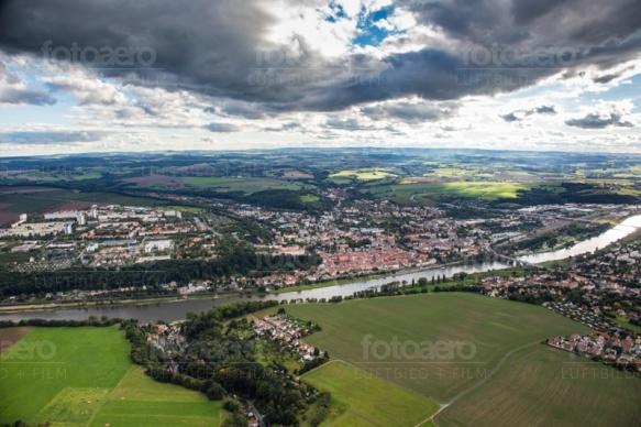Das Elbtahl der Sächsischen Schweiz bei Pirna im Bundesland Sachsen.