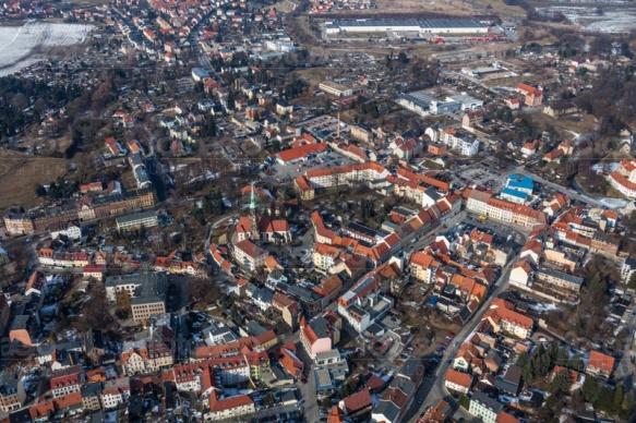 Blick auf Radeberg im Bundesland Sachsen