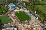 Bau des Stadions am Großen Garten in Dresden im Bundesland Sachsen